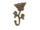 Handcrafted Model Ships K-9049-L-Cast-Iron Cast Iron Butterfly With Flowers Hook 5&Quot;