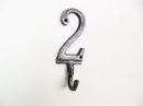 Handcrafted Model Ships K-9055-2-Silver Rustic Silver Cast Iron Number 2 Wall Hook 6&Quot;