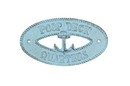 Handcrafted Model Ships K-9300-Solid-Light-Blue Rustic Light Blue Cast Iron Poop Deck Quarters With Anchor Sign 8&Quot;