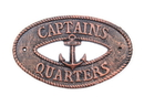 Handcrafted Model Ships K-9301-RC Rustic Copper Cast Iron Captains Quarters With Anchor Sign 8&Quot;