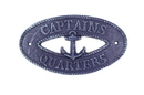 Handcrafted Model Ships K-9301-Solid-Dark-Blue Rustic Dark Blue Cast Iron Captains Quarters With Anchor Sign 8&Quot;