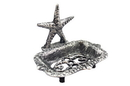 Handcrafted Model Ships K-9673-Silver Rustic Silver Cast Iron Starfish Soap Dish 6&Quot;