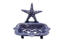 Handcrafted Model Ships K-9673-Solid-Dark-Blue Rustic Dark Blue Cast Iron Starfish Soap Dish 6&Quot;