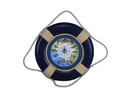 Handcrafted Model Ships Lifering 15-309-clock Vintage Blue Decorative Lifering Clock 15