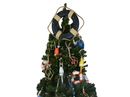 Handcrafted Model Ships Lifering-15-314-XMASS Vintage Blue Lifering Christmas Tree Topper Decoration