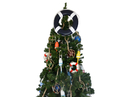 Handcrafted Model Ships Lifering-15inch-316-XMASS Dark Blue Lifering with White Bands Christmas Tree Topper Decoration