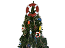 Handcrafted Model Ships Lifering-15inch-320-XMASS Red Lifering with White Bands Christmas Tree Topper Decoration