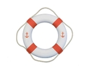 Handcrafted Model Ships Lifering 20-429 Classic White Decorative Anchor Lifering With Orange Bands 20