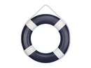 Handcrafted Model Ships Lifering-20inch-416 Dark Blue Painted Decorative Lifering with White Bands 20