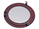 Handcrafted Model Ships MC-1967-24-AC Antique Copper Decorative Ship Porthole Mirror 24