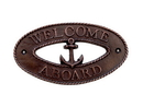 Handcrafted Model Ships MC-2248-AC Antique Copper Welcome Aboard Oval Sign With Anchor 8&Quot;
