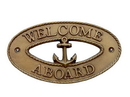 Handcrafted Model Ships MC-2248-AN Antique Brass Welcome Aboard Oval Sign With Anchor 8&Quot;