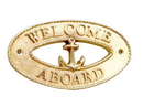 Handcrafted Model Ships MC-2248-BR Brass Welcome Aboard Oval Sign With Anchor 8&Quot;