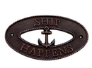 Handcrafted Model Ships MC-2250-AC Antique Copper Ship Happens Oval Sign With Anchor 8&Quot;