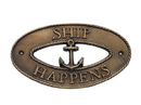 Handcrafted Model Ships MC-2250-AN Antique Brass Ship Happens Oval Sign With Anchor 8&Quot;