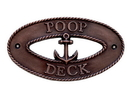 Handcrafted Model Ships MC-2256-AC Antique Copper Poop Deck Oval Sign With Anchor 8&Quot;