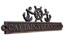Handcrafted Model Ships MC-2260-AC Antique Copper Captains Quarters Sign With Ship Wheel And Anchors 12&Quot;