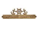 Handcrafted Model Ships MC-2260-AN Antique Brass Captains Quarters Sign With Ship Wheel And Anchors 12&Quot;