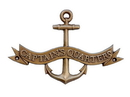 Handcrafted Model Ships MC-2261-AN Antique Brass Captains Quarters Anchor With Ribbon Sign 8&Quot;