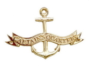 Handcrafted Model Ships MC-2261-BR Brass Captains Quarters Anchor With Ribbon Sign 8&Quot;