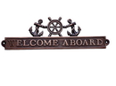Handcrafted Model Ships MC-2262-AC Antique Copper Welcome Aboard Sign With Ship Wheel And Anchors 12&Quot;