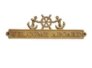 Handcrafted Model Ships MC-2262-AN Antique Brass Welcome Aboard Sign With Ship Wheel And Anchors 12&Quot;