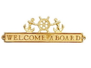 Handcrafted Model Ships MC-2262-BR Brass Welcome Aboard Sign With Ship Wheel And Anchors 12&Quot;