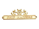 Handcrafted Model Ships MC-2263-BR Brass Ship Happens Sign With Ship Wheel And Anchors 12&Quot;