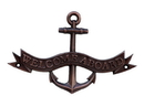 Handcrafted Model Ships MC-2265-AC Antique Copper Welcome Aboard Anchor With Ribbon Sign 8&Quot;