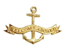 Handcrafted Model Ships MC-2265-BR Brass Welcome Aboard Anchor With Ribbon Sign 8&Quot;