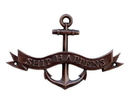 Handcrafted Model Ships MC-2266-AC Antique Copper Ship Happens Anchor With Ribbon Sign 8&Quot;