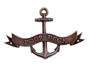 Handcrafted Model Ships MC-2267-AC Antique Copper Poop Deck Anchor With Ribbon Sign 8&Quot;