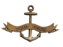 Handcrafted Model Ships MC-2267-AN Antique Brass Poop Deck Anchor With Ribbon Sign 8&Quot;