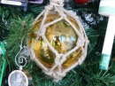 Handcrafted Model Ships MR4799A-XMASS Glass & Rope Amber Fishing Float Christmas Tree Ornament