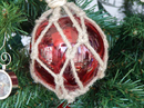 Handcrafted Model Ships MR4799R-XMASS Glass & Rope Red Fishing Float Christmas Tree Ornament
