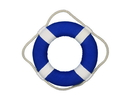 Handcrafted Model Ships N-LF-SolidBlue-10-Xmas Vibrant Blue Decorative Lifering With White Bands Christmas Ornament 10