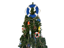 Handcrafted Model Ships N-LF-SolidBlue-15-XMASS Vibrant Blue Lifering with White Bands Christmas Tree Topper Decoration
