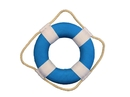Handcrafted Model Ships N-LF-SolidLightBlue-6 Vibrant Light Blue Decorative Lifering With White Bands 6