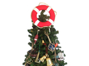 Handcrafted Model Ships N-LF-SolidRed-15-XMASS Vibrant Red Lifering with White Bands Christmas Tree Topper Decoration