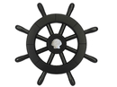 Handcrafted Model Ships New-Black-SW-12-Seashell Pirate Decorative Ship Wheel With Seashell 12