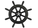 Handcrafted Model Ships New-Black-SW-12-Starfish Pirate Decorative Ship Wheel With Starfish 12