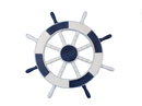 Handcrafted Model Ships New-Dark-Blue-and-White-SW-18 Dark Blue and White Ship Wheel 18