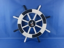 Handcrafted Model Ships New-Dark-Blue-and-White-SW-Seagull-and-Lifering-18 Dark Blue and White Ship Wheel with Seagull and Lifering 18