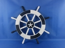 Handcrafted Model Ships New-Dark-Blue-and-White-SW-Starfish-18 Dark Blue and White Ship Wheel with Starfish 18