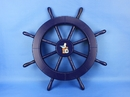 Handcrafted Model Ships New-Dark-Blue-Only-SW-Seagull-and-Lifering-18 Dark Blue Ship Wheel with Seagull and Lifering 18