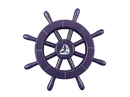 Handcrafted Model Ships new-dark-blue-sw-12-sailboat Dark Blue Decorative Ship Wheel With Sailboat 12