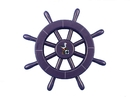 Handcrafted Model Ships new-dark-blue-sw-12-seagull Dark Blue Decorative Ship Wheel With Seagull 12