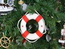 Handcrafted Model Ships New-Lifering-6-red-XMASS White Lifering with Red Bands Christmas Tree Ornament 6
