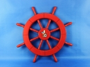 Handcrafted Model Ships New-Red-Only-SW-Seagull-and-Lifering-18 Red Ship Wheel with Seagull and Lifering 18