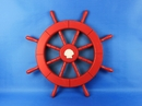 Handcrafted Model Ships New-Red-Only-SW-Seashell-18 Red Ship Wheel with Seashell 18